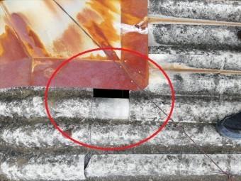 太子町の雨漏りのスレート屋根の飛んでしまったスレート