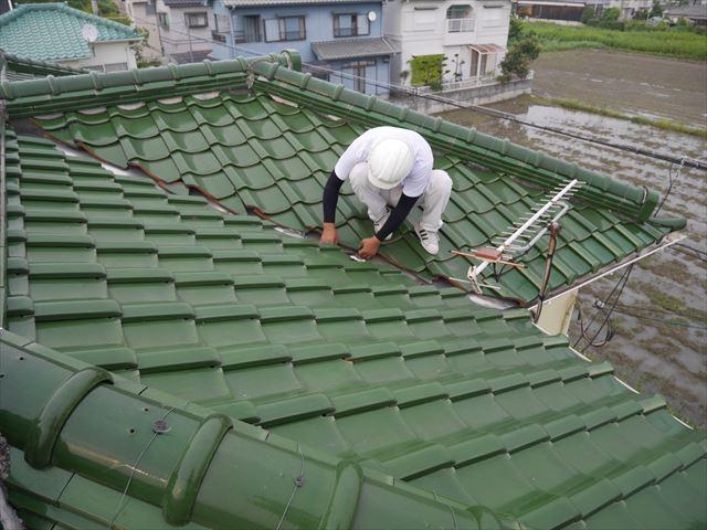 姫路市台風で雨漏り屋根の調査