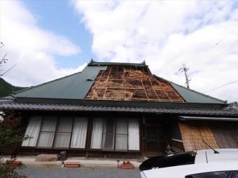 神河町の屋根の台風被害後の写真